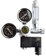 Dual Gauge CO2 Regulator with integrated Solenoid Kit Side mount with bubble counter (G5/8)